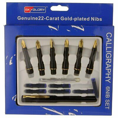 Calligraphy Fountain Pen Set 6 Nibs and 1 Pen 22 Carat Gold Plated
