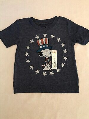 NEW~ Baby Boy Blue Snoopy Patriot Shirt Size 12 Months
