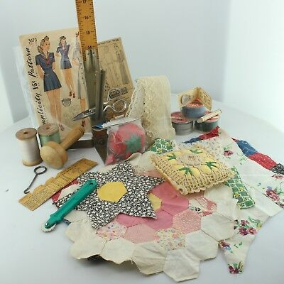 Lot Vintage Sewing Notions Quilt Block Samples
