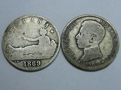 Spain 1869 1905 First Republic Alfonso Xiii 1 Peseta Lote 2 Monedas Coins Silver