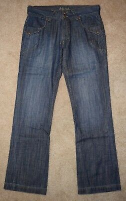 Womens Of The Earth Jeans Organic Denim Boho Flare Leg Long 34 x 35 Flap Pockets