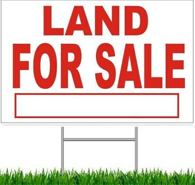 """4 Pack Land For Sale Large Outdoor 24""""x18"""" Land Yard Sign With Wire Stake street"""
