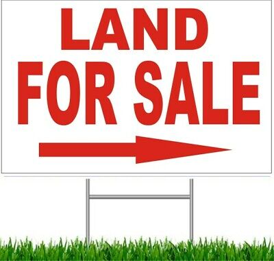 """4 Pack Land For Sale Arrow Large Outdoor 24""""x18"""" Land Yard Sign With Wire Stake"""