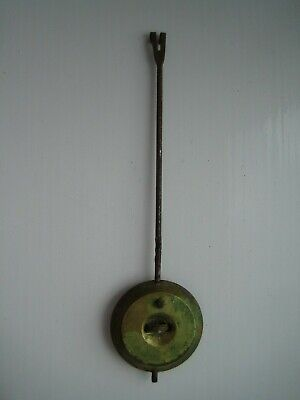 Unrestored French Clock Pendulum  (75g) Brass Bob & Hook, 105 mm Steel Rod
