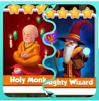 Coin Master Card Combo Pack Mighty Wizard+Holy Monk Fast Delivery