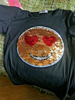 5515ae4f Kids Emoji Smiley Face Emoticon T-Shirt Tee Top Brush Changing Sequin 12 -  13