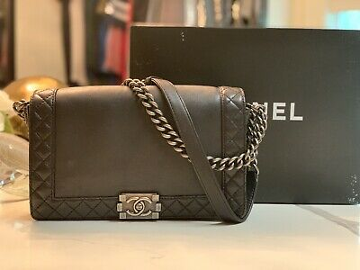 02e70272 CHANEL LE BOY Reverso BLACK Medium Leather Bag Ruthenium RARE Caviar Flap  Purse