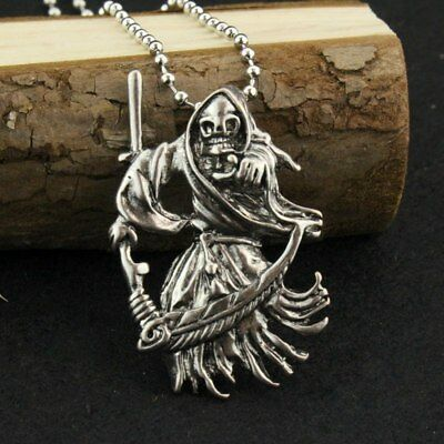 New Grim Reaper Angel Of Death Scythe Charm Necklace Pendent Jewellery Gift Bag