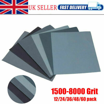 12pc Mixed Wet and Dry Waterproof Sandpaper 1500-8000 Grit Sheets Sander Paper