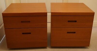 Pair of Beautiful Teak Bedside Side Tables ~ Mid Century Modern Styling
