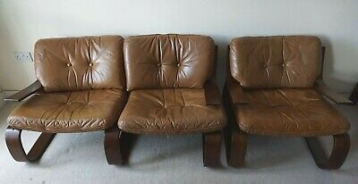 Bentwood 2 Seat Sofa & Matching Chair Leather Mid Century 60/70s Rosewood Danish