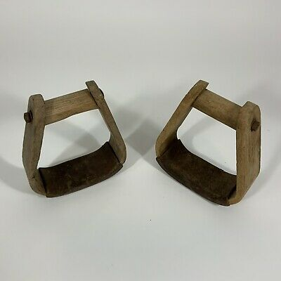 Horse Stirrups (2) Western Style Wooden Antique From Virginia Farm Barn.