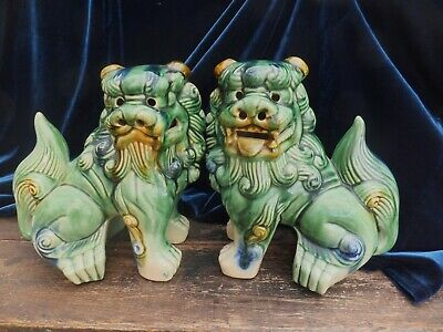 Antique Pair Chinese Temple Foo Dogs Lions Green Large Very Fierce Guardians
