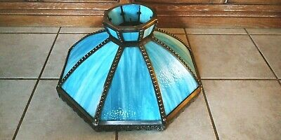 Antique Victorian Slag Stain Opalescent Glass Panel Art Deco Hanging Lamp Shade