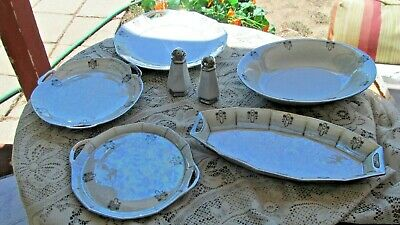 China Bavaria Ohme Colonial Art Deco Iridescent  6 Pieces Cake Plate Oval Dish +