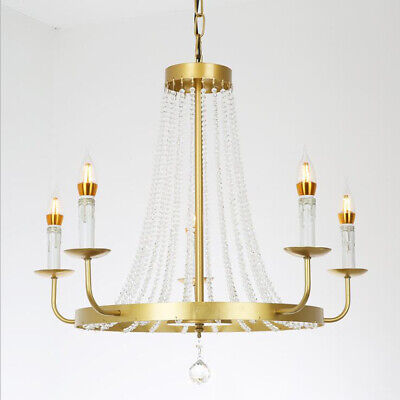 Crystal Chandelier Wrought Iron Golden Living Room Candle Hanging Staircase Lamp