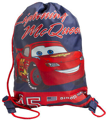 Disney Cars Drawstring Sports Trainer Tote Gym Bag Blue Back to School