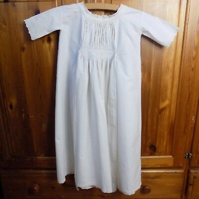 ANTIQUE CHRISTENING GOWN Victorian Baby Embroidered Long Cotton Linen Whitework