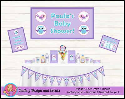 Personalised Girls BIRDS & OWL Baby Shower Decorations Favours Supplies Owls