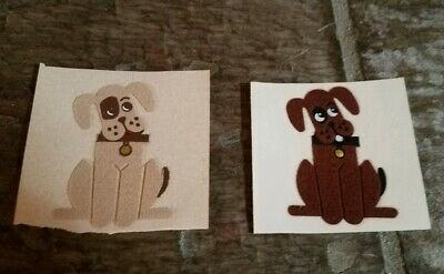 Vintage Personalized Expressions Fuzzy Felt TAN & BROWN DOG Stickers, 1980s