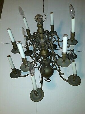 Flemish Dutch Chandelier 12 Candle 2 Tier Light Bronze/Brass Victorian Arm 25""