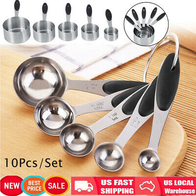 10 Pieces Stainless Steel Measuring Cups and Measuring Spoon Set Kitchen New