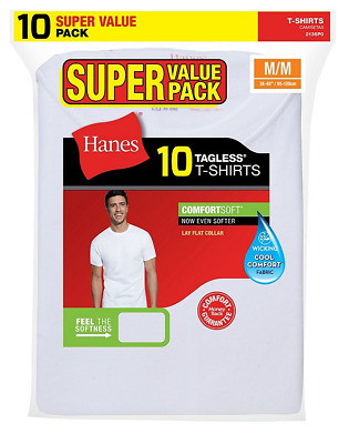 Hanes Mens T-Shirts 10-Pack Assorted  tagles Comfort Soft Crew Neck 100% Cotton