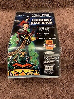"""Ultra PRO Current Size 6-7/8 x 10-1/2"""" Comic Bags 100 Count Pack 2 mil acid free"""