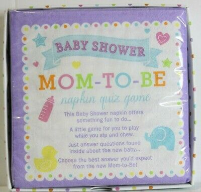 BABY SHOWER Mom to Be TRIVIA GAME NAPKINS ~ Party Supplies Serviettes Cake 40