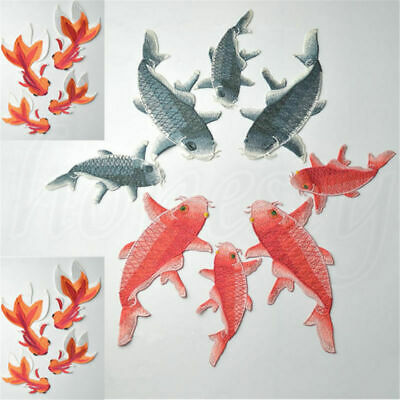 1PC Goldfish Embroidery Patch Iron Sew On Badge Clothes Fabric Applique Craft