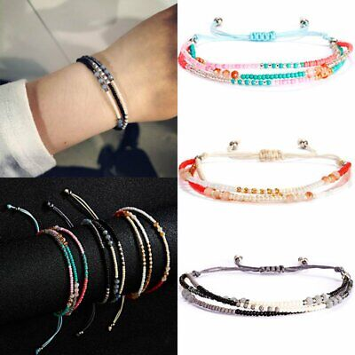 Fashion Multi-layer Beaded Bracelet Lucky Bangle Handmade Knot Rope Jewelry Gift