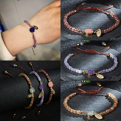 Fashion Natural Stone Beaded Bracelet Women Lucky Charm Knot Rope Bangle Gifts