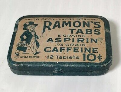 Vintage RAMON'S ASPIRIN Tin with Pills & Instructions Included - 12 Tablet  Size