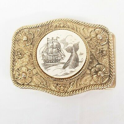Vintage Brass Belt Buckle Scrimshaw Sailing Ship