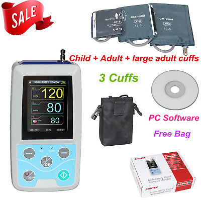 24 Hours Ambulatory Blood Pressure Monitor NIBP Holter with 3 Cuffs+Software,NEW