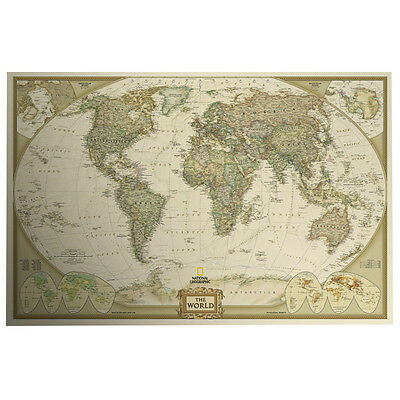 Vintage Retro World Map Antique Paper Poster Wall Chart Home Decor Wallpaper