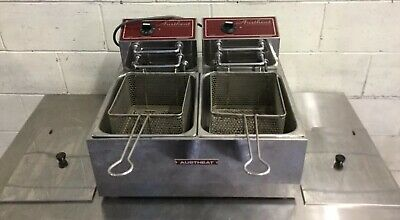 COMMERCIAL Cafe Restaurant Austheat By Roband Twin 5 Litre Deep Fryer 15Amp