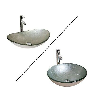 Silver Oval Basin Bathroom Tempered Glass Vessel Sink Bowl Vanity Combo Faucet