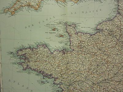 1907 Dated Map North West France Channel Islands Le Havre Orne Brittany Calvados