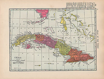 1909 Map ~ Cuba With Provinces Cities-Towns Havana