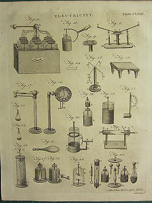 1797 GEORGIAN PRINT ~ ELECTRICITY VARIOUS EXPERIMENTS EQUIPMENT APPARATUS etc