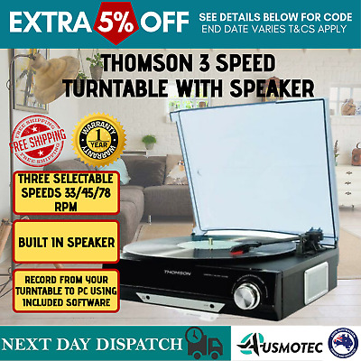Thomson 3-Speed Turntable Record Player Software Speaker USB Vinyl to MP3 NEW
