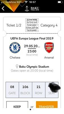 2 Tickets Europe League Final Chelsea versus Arsenal London in Baku