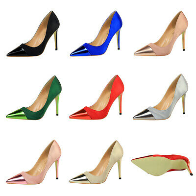 New Simple Satin Pointed Toe Shallow High Heels Stilettos Pumps Sexy Women Shoes