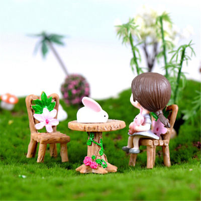 3Pcs Floral Table Chairs Miniature Landscape Fairy Garden Dollhouse Home Decor