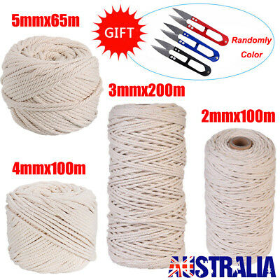 200m 100% Natural Cotton String Twisted Cord Beige Craft Macrame Artisan 2-5mm D
