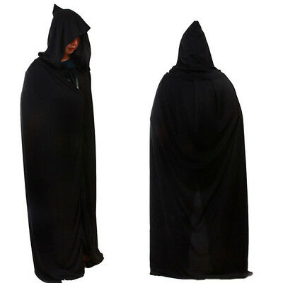 Adult Unisex Black Hooded Cape Cloak Robe Halloween Vampire Witch Wizard Costume