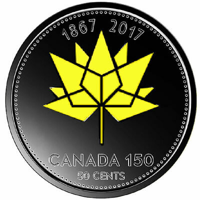 2017 Canada 150 50 Cents Plated Ruthenium with Selective Gold 24k UNC