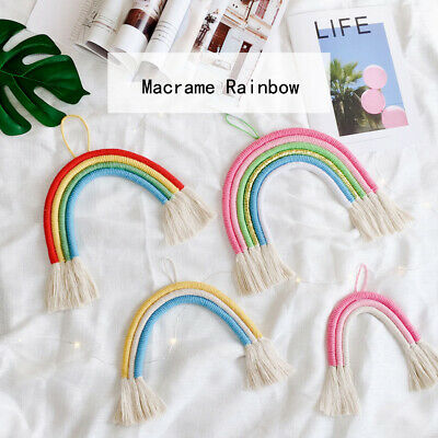 Macrame Rainbow Cotton Crochet Tassels Hanging Wall Pendant Pram Nursery Decor