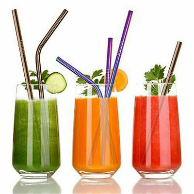 4x Premium Stainless Steel Metal Drinking Straw Straight/Bent Reusable WashableD